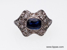 Platinum Sapphire and Diamond Edwardian Ring