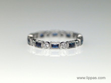 18 Karat White Gold French Cut Sapphire and Diamond Eternity Ring