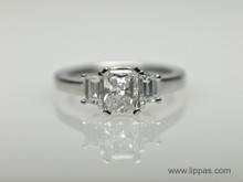 Platinum Radiant Cut Diamond with Trapezoid Side Diamond Engagement Ring