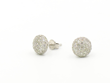 14 Karat White Gold Diamond Pave Disc Earrings