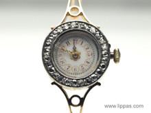 14 Karat Ladies Rose Cut Diamond Bezel Antique Watch