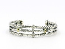Silver and 18 Karat Yellow Gold Three Row Cuff Bracelet With Diamond Accent Stations