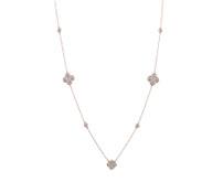 32 Inch 14 Karat Rose Gold Diamond Cluster Necklace