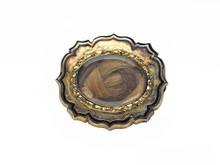 14 Karat Yellow Gold Victorian Black Enamel Hair Brooch