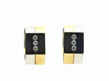 14 Karat White and Yellow Gold Hexagonal Flush Set Diamond Huggie Earring
