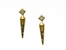 18 Karat Yellow Gold Spike Shaped Diamond Drop Earrings