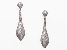 14 Karat White Gold Pave Diamond Tear Drop Earrings