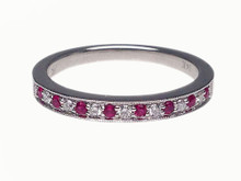 14 Karat White Gold Fifteen Stone Ruby and Diamond Ring
