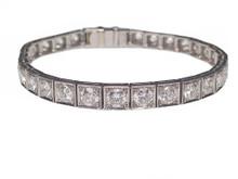 "Platinum Art Deco Diamond Line Bracelet Signed ""Barthman"""