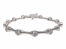 14 Karat White Gold  Bamboo Style Bezel Set Diamond Bracelet