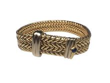 18 Karat Yellow Gold Wide Woven Buckle Bracelet