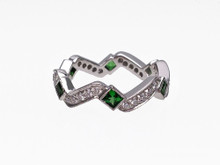 18 Karat White Gold Tsavorite and Diamond Band