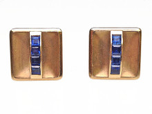 14 Karat Yellow Gold and Sapphire Cufflinks