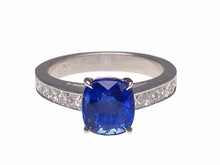 Custom Made 18 Karat White Gold Cushion Cut Sapphire and French Cut Diamonds