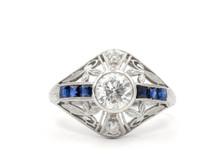 1920's Platinum Diamond and Sapphire Ring