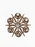"14 Karat Yellow Gold Diamond ""Snowflake"" Brooch"