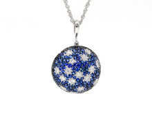 14 Karat White Gold Sapphire and Diamond Stary Night Pendant