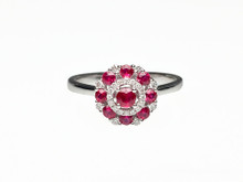 14 Karat White Gold Ruby and Diamond Circle Cluster Ring