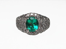 14 Karat White Gold Oval Emerald and Diamond Pave Ring