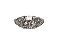 Platinum 1.70 Carat Old European Cut Diamond Engagement Ring