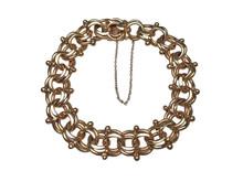 14 Karat Yellow Gold Double Link Charm Bracelet