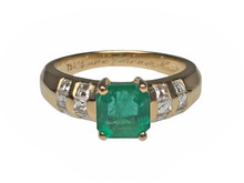 18 Karat Yellow Gold Emerald and Diamond Ring