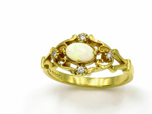 18 Karat Yellow Gold Victorian Style Opal and Diamond Ring