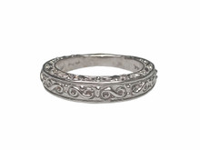 14 Karat White Gold Scroll Band
