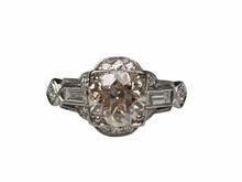 Platinum 1.40 Carat Old European Cut Art Deco Diamond Ring