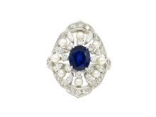 Platinum, Sapphire, Diamond and Pearl Estate Ring