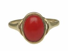 14 Karat Yellow Gold Bezel Set Red Coral Ring