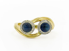18 Karat Yellow Gold and Platinum Double Sapphire Cabochon and Diamond Ring