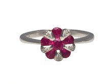 14 Karat White Gold Ruby and Diamond Cluster Ring
