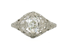 Platinum Edwardian Old Mine Cut Diamond Ring