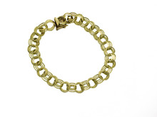 14 Karat Yellow Gold Triple Loop Link Bracelet