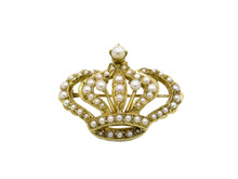 14 Karat Yelow Gold and Seed Pearl Crown Brooch