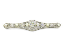 Edwardian Platinum Diamond and Pearl Brooch