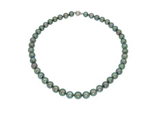 14 Karat White Gold Graduated Strand of Green Tahitian Pearls