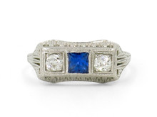 18 Karat White Gold Art Deco Diamond and Sapphire Three Stone Ring