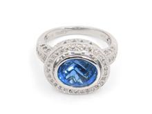 14 Karat White Gold Topaz and Diamond Ring