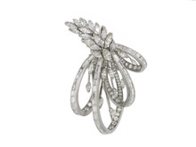 Platinum and Diamond Laykin et Cie Floral Brooch