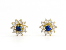14 Karat Yellow Gold Diamond and Sapphire Flower Earrings