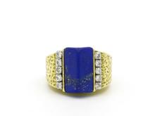 18 Karat Yellow Gold, Diamond and Lapis Cocktail Ring
