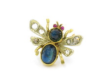 18 Karat Yellow Gold Sapphire, Ruby and Diamond Bee Pin