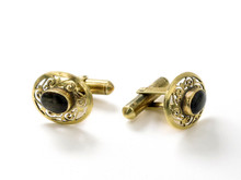 18 Karat Yellow Gold Black Star Sapphire Cufflinks