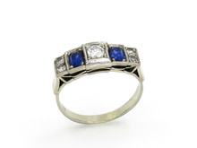 18 Karat White Gold Art Deco Sapphire and Diamond Ring