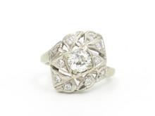 14 Karat White Gold 1930's Diamond Cocktail Ring