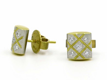 Platinum and 22 Karat Yellow gold Rectangular Diamond Earrings