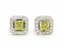 18 Karat White and Yellow Gold Fancy Yellow Diamond Earrings with Diamond Halo