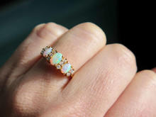14 Karat Yellow Gold Three Stone Opal & Diamond Ring